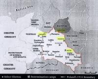 Les camps d'extermination en 1942 (le trait rouge marque la limite du Gouvernement général).