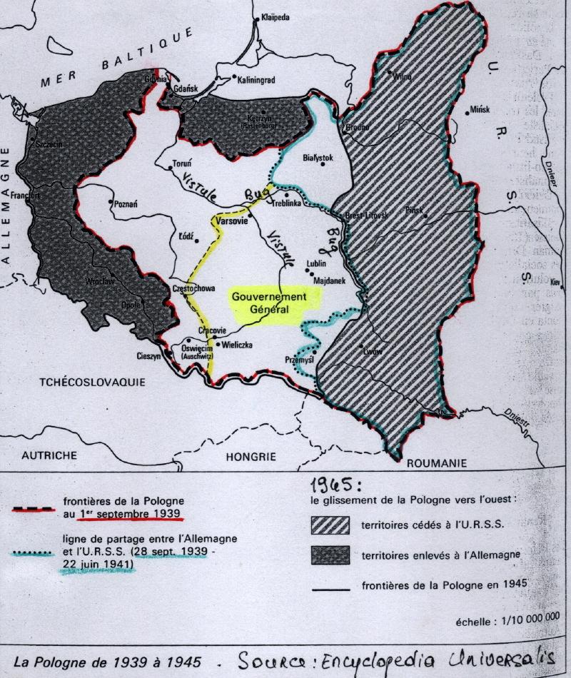 Quelques cartes de la pologne pendant la seconde guerre mondiale